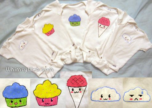 Hand Painted Kawaii Onesies by WhimsyWeb