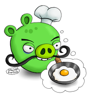 Chef Pig thinks he is cooking an egg by RiverKpocc