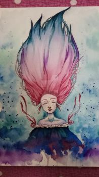 Pink hair under watercolor by MarinaPlazaG