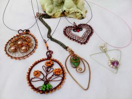 Copper  wire and silver wire pendants by Mirtus63