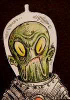 Alien Astronaut ACEO sketch card by thebigduluth