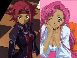 Black Kallen and Black Euphie by DemonRave