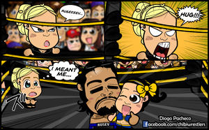 Lana and Rusev with Bayley - WWE Chibi Comic #16 by kapaeme