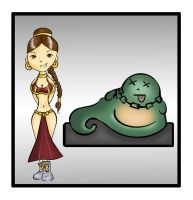 Slave Leia Kills Jabba Colored by SlavePrincess