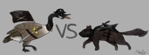 Pirate Goose vs Ninja Squirrel by MapleRose