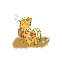 filly Applejack by HappyDeadPony
