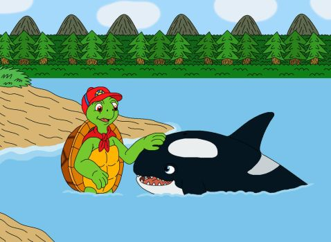 Franklin the Turtle meet Moby the Orca by MCsaurus