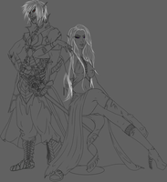 Forgotten Realms: Linework Shi and Chi (OCs) by A44Design