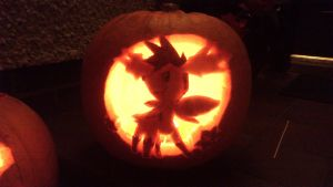 Shaymin pumpkin carving by AnimeStrife009