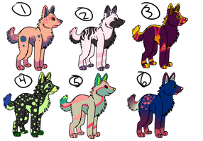 Wolf Adopts -3 left- by CandyCaane