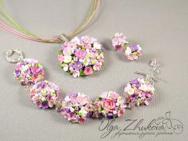jewelry set with flowers by polyflowers