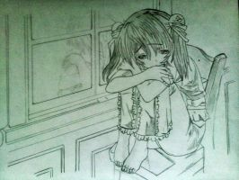 lonely anime girl by xinje