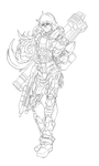 RWBY : Yang Spartan armor - lineart (WIP ) by dishwasher1910