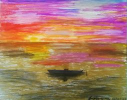 Color Seascape boat- Pastel oil by shaolin6657