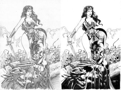 Wonder Woman and Batman - Pencil-Ink by edtadeo