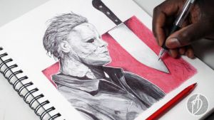 Michael Myers - Ballpoint Pen Drawing -DeMoose Art by demoose21