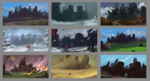 Castle Color Comps by RynkaDraws