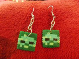 Minecraft Zombie Earrings by DisasterExe