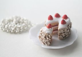 Strawberry Cream Cake Necklace by ChroniclesOfKate