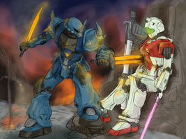 Federation vs. Zeon by StrictlyMecha