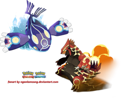 Primal Groudon and Primal Kyogre by nganlamsong