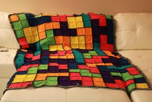 Tetris blanket finished by CheerfulPessimist88