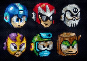Megaman + Bosses Cross Stitch by pixel8bit