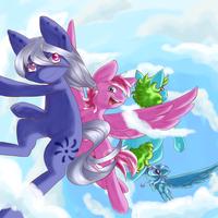 *Casually jumping out of the sky* by HirokoPig