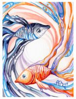 Black and Orange Yin Yang Fish by AniaMohrbacher