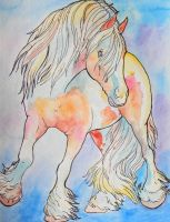 Draft mare watercolor by jupiterjenny
