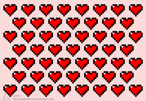8 Bit Hearts Valentine's Day Card by allonsykimberly
