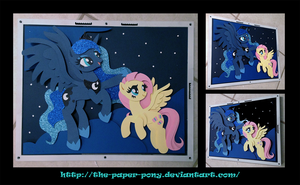 Commission: Fluttershy and Luna Flying by The-Paper-Pony