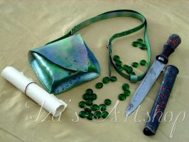 Green Reptile Fantasy Leather Pouch by izasartshop