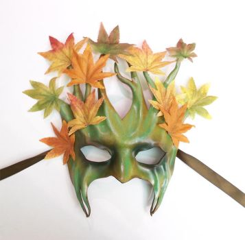 Leather Tree Mask with Fabric Leaves by teonova