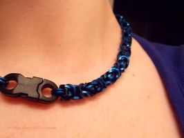 Blue Byzantine Chainmail Choker, Square Rings by ulfchild