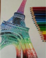 Rainbow Eiffel Tower by lolzhavingfun