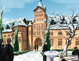 School Entrance Winter by faustsketcher