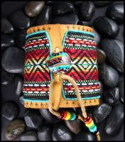 Rainbow Ribbon and Leather Cuff Bracelet by andromeda