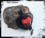 Black and Red Polymer Clay Heart Wire Pendant by kelleejm1