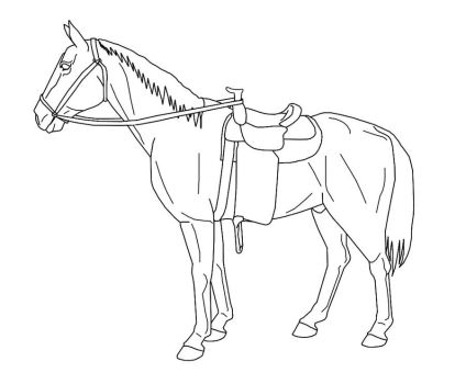 Horse with Tack Line Art by WickerWolfArt