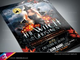 The Witch and The Ghostmen Party Flyer Template by AnotherBcreation