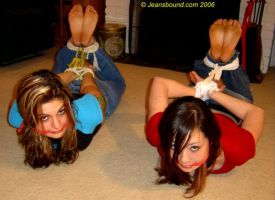 A Pair of Hogtied Cuties by Jeansbound