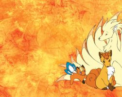Fire foxes wallpaper by YellowCat