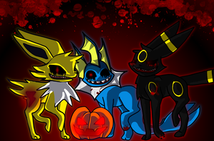 Halloween Eevee evolution by LumaStern