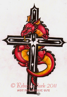Dragon and Cross Tattoo by InsaneRoman