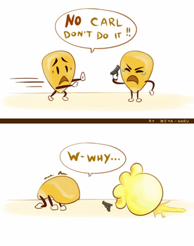 Carl the Suicidal Corn Kernel by Zeta-Haru