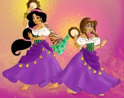 Jasmine and Jane as Esmeralda by Torenganger