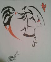 Harley Quinn Tribal Tattoo ORIGINAL and FULL by Juliana-Nasome