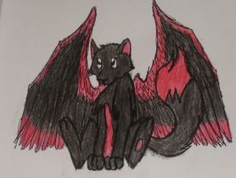 Red and black winged fox by JackleRules