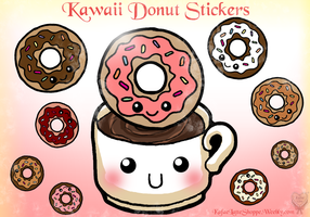 Kawaii Donut Stickers by Kafae-Latte